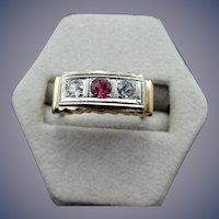 10 Karat Art Deco Diamond and Ruby Ring