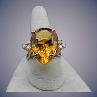 Estate Citrine and Diamond Ring