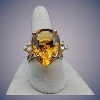 Estate Citrine and Diamond Ring