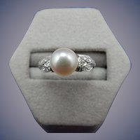 Estate Platinum Pearl and Diamond Ring