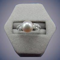 Estate Platinum Pearl and Diamond Ring