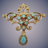 Estate 14 Karat Opal and Seed Pearl Pin/Pendant