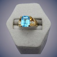 Estate 14 Karat Blue Topaz and Diamond Ring