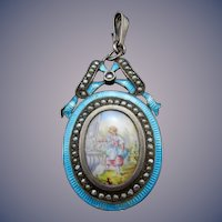 Vintage Sterling Silver Guilloche Enameled, Hand Painted Porcelain, and Seed Pearl Pendant/Locket