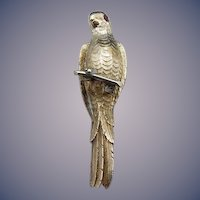 Vintage Platinum and 14 Karat Parrot Stick Pin