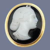 Vintage Sardonyx Cameo and 14 Karat Stick Pin