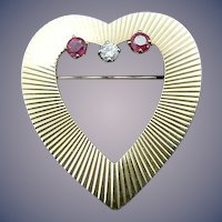 Vintage Tiffany 14 Karat Ruby and Diamond Heart Pin