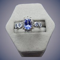 Estate 14 Karat Tanzanite and Diamond Ring