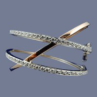 Estate 18 Karat Two-tone Contemporary Diamond Bracelet