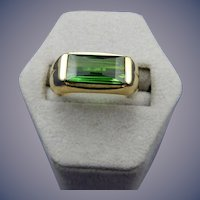 Estate 18 Karat Green Tourmaline Ring