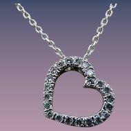 Estate 14 Karat Diamond Heart Pendant