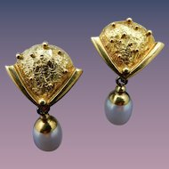 "Estate 18 Karat ""Richard Kimball"" Fresh Water Pearl Earrings"
