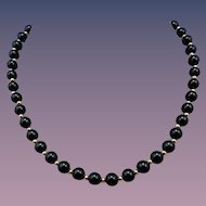 Estate Black Onyx and 14 Karat Bead Necklace