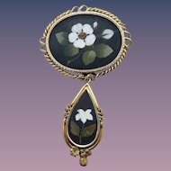 Estate 14 Karat Pietra Dura Brooch