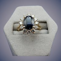 Estate 14 Karat Sapphire and Diamond Ring