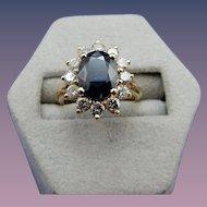 Estate 14 Karat Sapphire and Diamond Ring