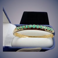 Estate 18 Karat Emerald Bangle Bracelet