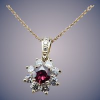Estate 14 Karat Ruby and Diamond Pendant