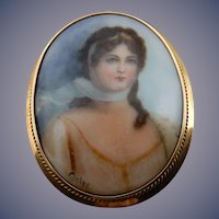 Estate Hand Painted Porcelain Portrait Brooch