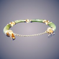 Gold Filled Chinese Spinach Jade Bracelet