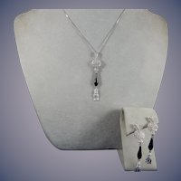 Diamond and Black Onyx Pendant and Earrings