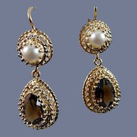 Vintage 14 karat Topaz and Pearl Earrings