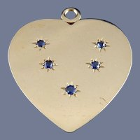 14 Karat Sapphire Heart Charm