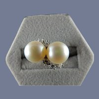 14 Karat Side-by-side Cultured Pearl and Diamond Ring