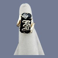 Initialed Onyx and Diamond Ring