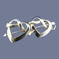 14 Karat Double Heart Pin