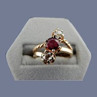 Vintage 14 Karat Ruby and Diamond Ring