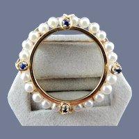 14 Karat Pearl and Sapphire Circle Pin