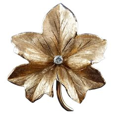14 Karat Diamond Leaf Pin