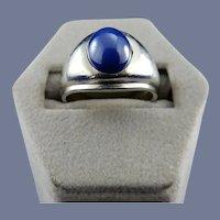 14 Karat White Gold Mens Blue Lindy Sapphire Ring