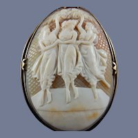 14 Karat Natural Shell Cameo Brooch