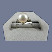 18 Karat Cultured Pearl and Diamond Ring
