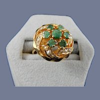22 Karat Emerald and Seed Pearl Ring