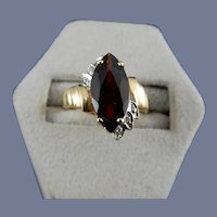 14 Karat Marquise Garnet and Diamond Ring