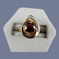 14 Karat Natural Garnet and Diamond Ring