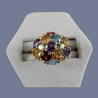 14 Karat Multi-Colored Cluster Ring