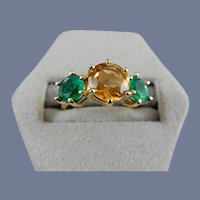 10 karat Natural Yellow Topaz and Synthetic Emerald Ring