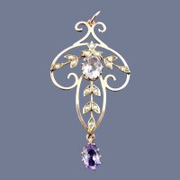 9 Karat Vintage Rose Gold Amethyst Lavalier