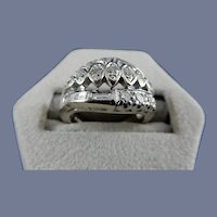 14 Karat White Gold Diamond Ring.