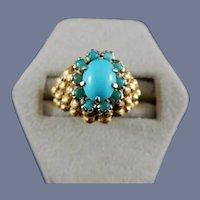 18 Karat Yellow Gold and Turquoise Ring