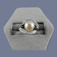 14 Karat White Gold Cultured Pearl and Diamond Ring