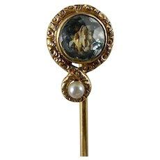 14 Karat Aquamarine and Seed Pearl Stick Pin