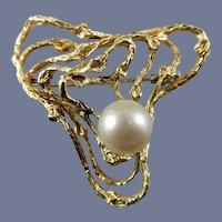 18 Karat Cultured Pearl Brooch