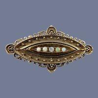 18 Karat Natural Opal and Diamond Pin