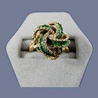 18 Karat Enameled Ring