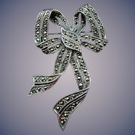 Estate Sterling Silver and Marcasite Bow Pin